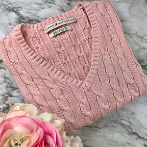Tommy Hilfiger Classic Pink Cable Knit Sweater